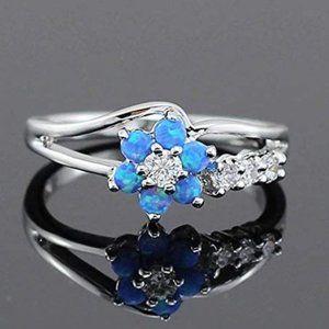 18K Silver Blue Fire Opal & CZ Ring Size 7.5